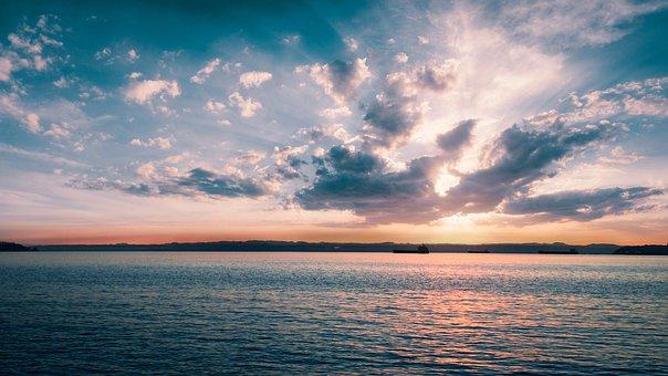 Sunset, Sea, Clouds, Horizon, Sky, Ships