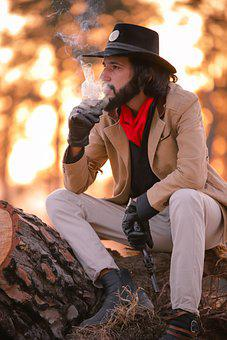 Man, Cowboy, Model, Portrait, Smoke, Smoking, Smoker