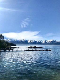 Lake, Pier, Mountains, Snow, Travel