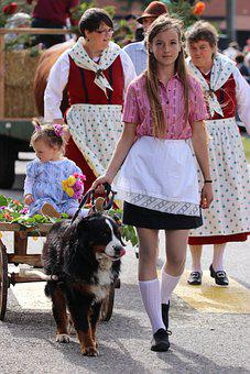 Farmers, People, Parade, Costume, Dog, Traditional