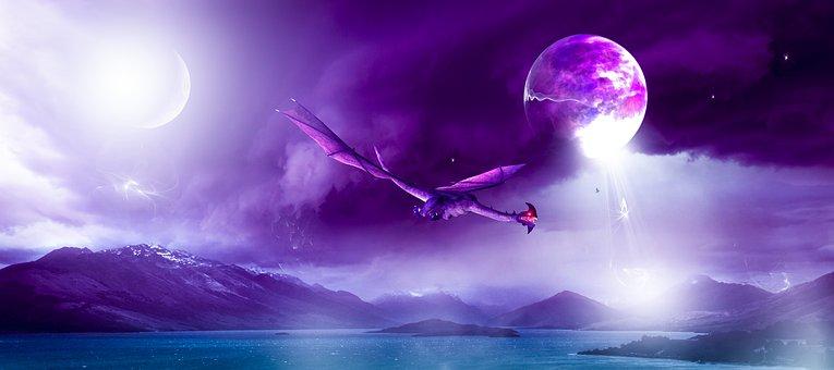 Fantasy, Dragon, Space, Moon, Planet, Universe, Cosmos