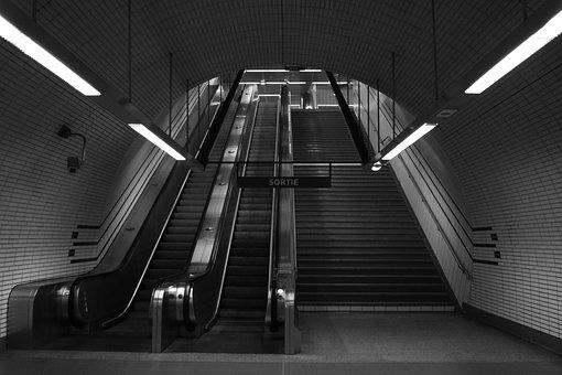 Escalator, Stairs, Subway, Escalate, Upwards, City