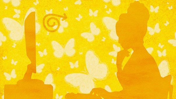 Butterflies, Woman, Computer, Working, Yellow