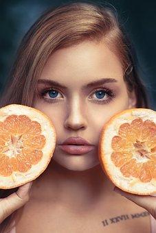 Girl, Oranges, Portrait, Female, Young Woman, Woman