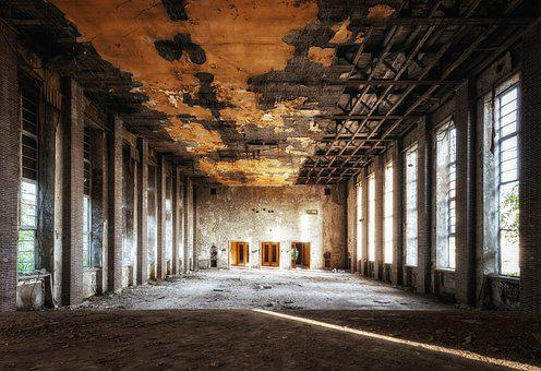 Abandoned, Hall, Space, Ballroom, Old, Empty, Broken
