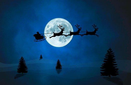 Santa Sleigh, Christmas, Silhouette