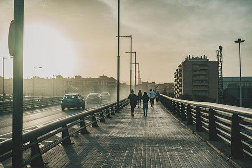 Bridge, Road, City, Sidewalk, Walkway, Path, Urban