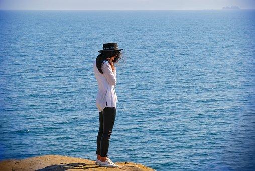 Woman, Model, Cliff, Ocean, Sea, Despair