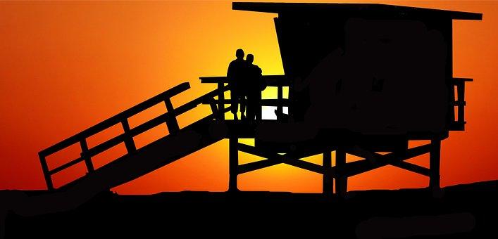 Couple, Silhouette, Sunset, Dusk, Beach, Beach Hut