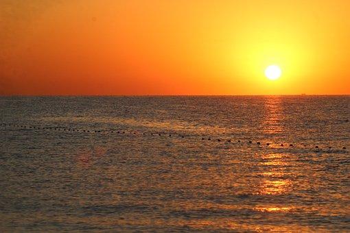 Sunrise, Sun, Sea, Sunlight, Dawn, Orange Sky, Morning