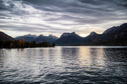 Lake, Mountains, Dawn, Dusk, Water, Mountain Range