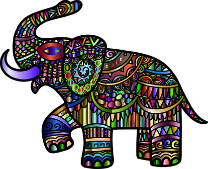 Elephant, Animal, Line Art, Decorative, Decoration