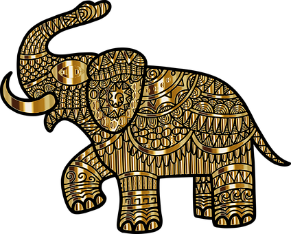 Elephant, Animal, Line Art, Decorative, Decoration