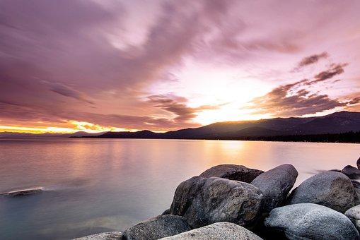 Sunset, Lake, Rocks, Boulders, Dusk, Twilight