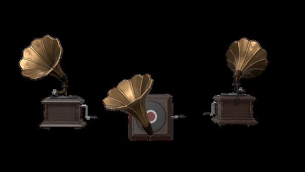 Gramophone, Megaphone, Turntable, Record