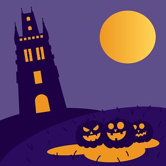 Halloween, Pumpkins, Haunted House, Moon