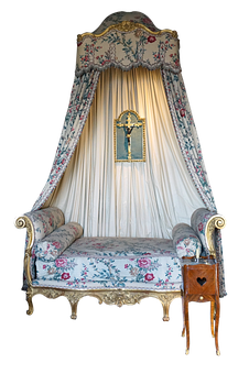 Bed, Curtains, Cross, Floral, Decoration, Old, Antique