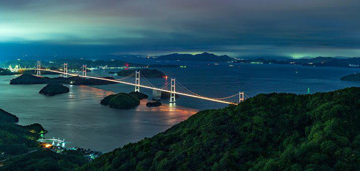 Bridge, Highway, Crossing, Sea, Night, View, Panorama