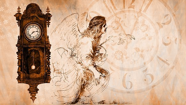 Time, Clock, Angel, Transience, Pendulum Clock