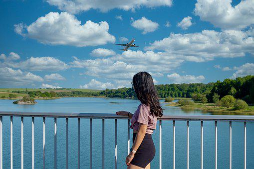 Woman, Model, Bridge, Railing, Airplane, Lake, Sun