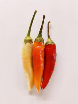 Chili Pepper, Color, Yellow, Orange, Red, Spices, Food
