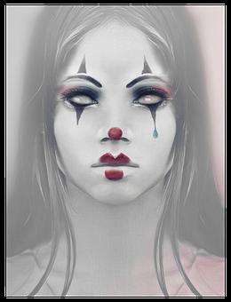 Creepy, Girl, Clown, Sad, Female, Portrait, Weird