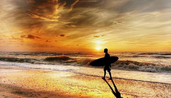 Surfer, Silhouette, Sunset, Beach, Waves, Ocean, Sky