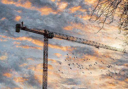Sunset, Crane, Construction, Machine, Sky, Clouds