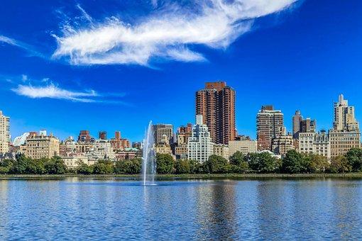 Fountain, Park, New York, Skyline, Cityscape