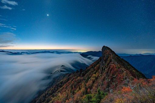 Mountain, Before Sunrise, Cloud, Starry Sky