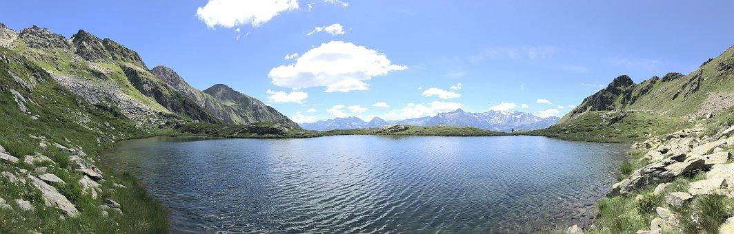 Mountains, Lake, Summit, Peaks, Trails, Paths