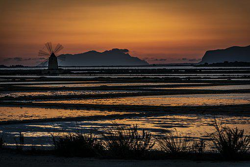 Salt Pan, Silhouette, Dusk, Dawn, Sunset, Sunrise