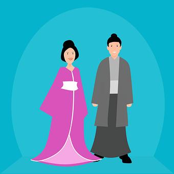 Couple, People, Traditional, Dress, Woman, Man, Japan