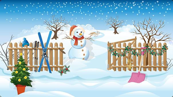Snowman, Trees, Fence, Snow, Snowflakes, Winter, Season