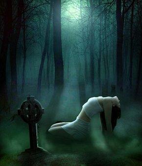 Woman, Fog, Sitting, Forest, Trees, Moon, Night