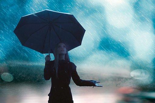 Rain, Girl, Umbrella, Raindrops, Woman, Young Woman