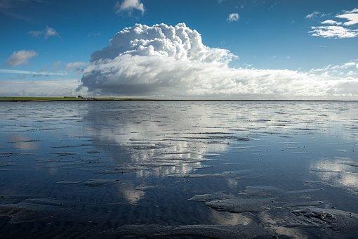 Sky, Clouds, Ocean, Reflection, Wadden Sea, North Sea