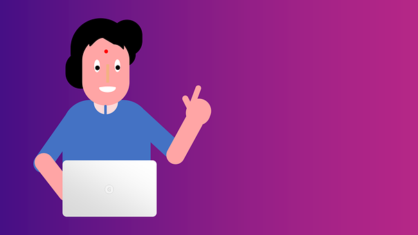 Woman, Laptop, Computer, Idea, Strategy, Hand, Pointing