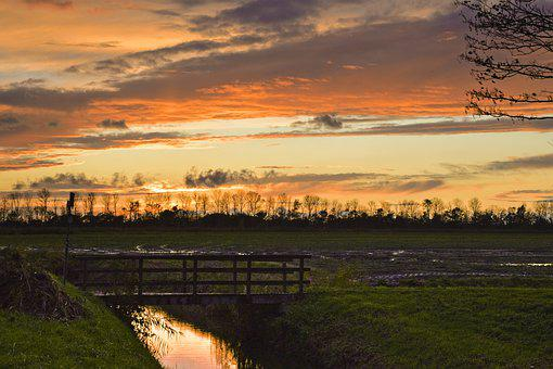 Sunset, Farm, Bridge, Brook, Wooden Bridge, Fields