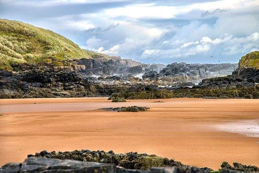 Beach, Sand, Dunes, Cliff, Rocks, Sea, Sky, Stone