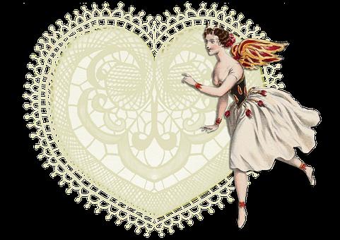 Ballerina, Dancer, Wings, Heart, Lace, Vintage
