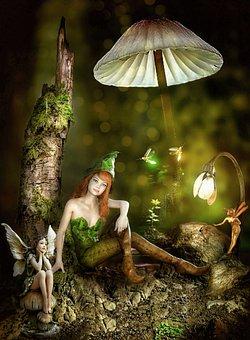 Girl, Elf, Fairy, Wings, Mushroom, Fairytale, Sitting