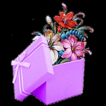 Flowers, Present, Scrapbook, Gift, Gift Box, Box