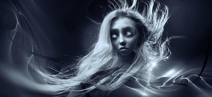 Fantasy, Portrait, Hair, Creepy, Dark, Light, Face
