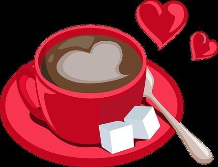 Coffee, Beverage, Sugar, Food, Caffeine, Spoon, Hearts