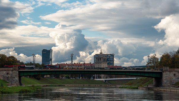 Bridge, River, City, View, Clouds, Sky, Infrastructure