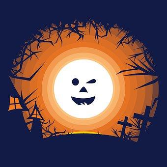 Halloween, Face, Full Moon, Jungle