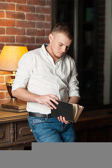 Man, Reading, Portrait, Handsome