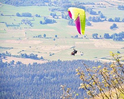 Paragliding, Flight, Pair, Fields, Overlooking
