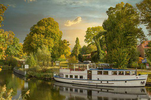 Boat, River, Reflection, Trees, Park, Pathway, Autumn